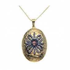 **Closeout** Sterling Silver Black Rhodium and Gold Plated Clear CZ Round Pendant Necklace - STP00949