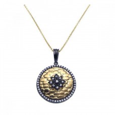 **Closeout** Sterling Silver Black Rhodium and Gold Plated Clear CZ Circle Round Pendant Necklace - STP00950