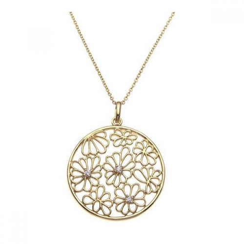 **Closeout** Wholesale Sterling Silver 925 Gold Plated Clear CZ Flower Pendant Necklace - STP00951