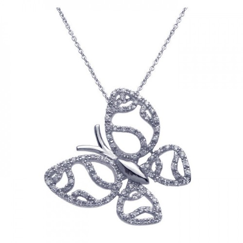 Wholesale Sterling Silver 925 Rhodium Plated Clear CZ Butterfly Pendant Necklace - STP00954