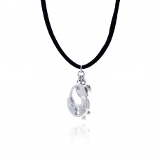 **Closeout** Wholesale Sterling Silver 925 Rhodium Plated Clear CZ Handcuff Key Pendant Necklace - STP00956