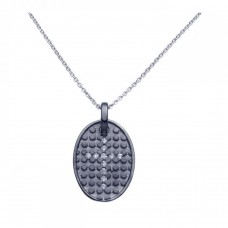 **Closeout** Sterling Silver Black Rhodium Plated Clear CZ Cross Pendant Necklace - STP00964