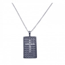 **Closeout** Sterling Silver Black Rhodium Plated Clear CZ Cross Pendant Necklace - STP00965