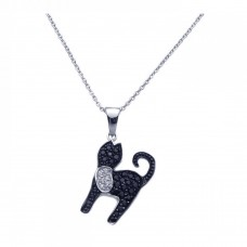 Sterling Silver Black Rhodium Plated Black CZ Cat Pendant Necklace - STP00966