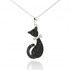 Sterling Silver Rhodium Plated Clear CZ Black Cat Pendant Necklace - STP00967