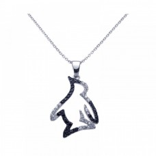 Sterling Silver Black Rhodium & Rhodium Plated Clear CZ Penguin Pendant Necklace stp00968