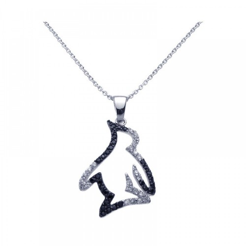 Wholesale Sterling Silver 925 Black Rhodium and Rhodium Plated Clear CZ Penguin Pendant Necklace - STP00968