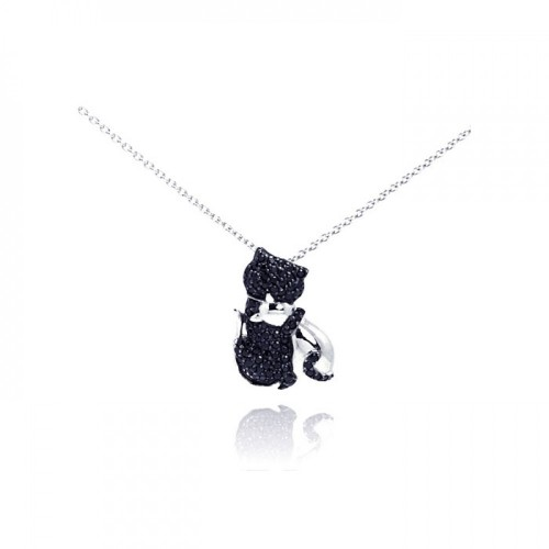 Wholesale Sterling Silver 925 Rhodium Plated Clear CZ Black Kitty Pendant Necklace - STP00969