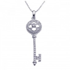 Sterling Silver Rhodium Plated Clear CZ Clover Key Pendant Necklace - STP00972