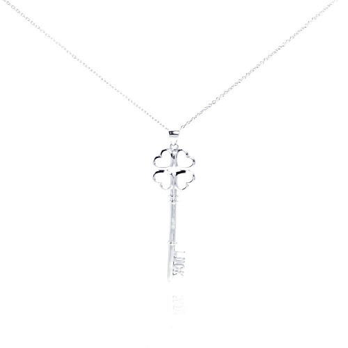 Wholesale Sterling Silver 925 Rhodium Plated Luck Key Pendant Necklace - STP00980