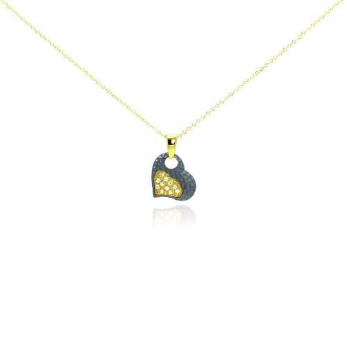 -Closeout- Wholesale Sterling Silver 925 Gold Plated and Matte Black Rhodium Finish Clear CZ Heart Pendant Necklace - STP00984