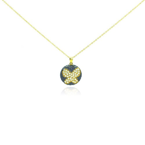 -Closeout- Wholesale Sterling Silver 925 Gold Plated and Matte Black Rhodium Finish Butterfly Clear CZ Round Pendant Necklace - STP00986