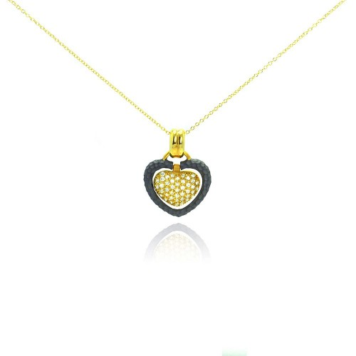 -Closeout- Wholesale Sterling Silver 925 Gold Plated and Matte Black Rhodium Finish Clear CZ Heart Pendant Necklace - STP00989