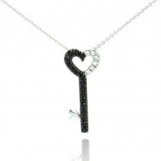 Wholesale Sterling Silver 925 Rhodium and Black Rhodium Plated Clear and Black CZ Key Pendant Necklace - STP00992