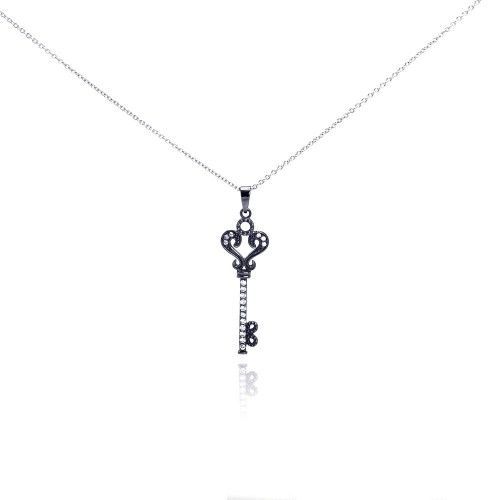 Wholesale Sterling Silver 925 Black Rhodium Plated Clear CZ Key Pendant Necklace - STP00993