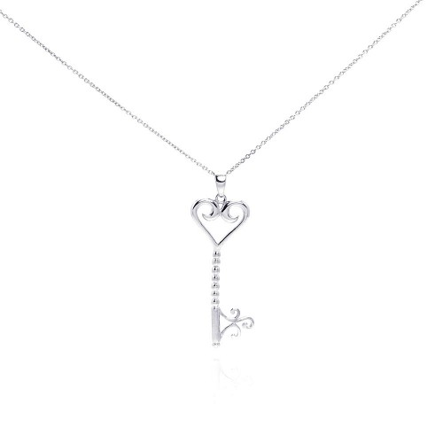 Wholesale Sterling Silver 925 Rhodium Plated Clear CZ Key Heart Pendant Necklace - STP00996