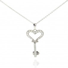 Wholesale Sterling Silver 925 Black Rhodium Plated Clear CZ Key Heart Pendant Necklace - STP00997