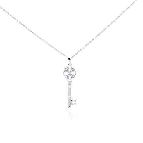 Wholesale Sterling Silver 925 Rhodium Plated Clear CZ Key Pendant Necklace - STP00999