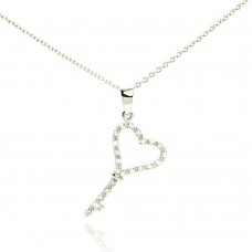 Wholesale Sterling Silver 925 Rhodium Plated Clear CZ Key Pendant Necklace - STP01000