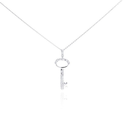 Wholesale Sterling Silver 925 Rhodium Plated Clear CZ Key Pendant Necklace - STP01001