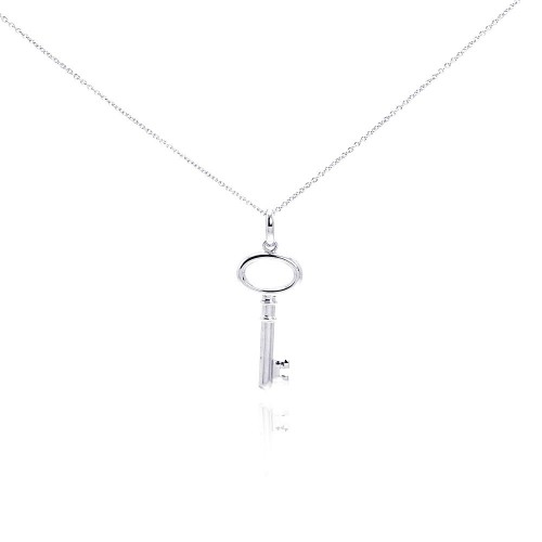 Wholesale Sterling Silver 925 Rhodium Plated Clear CZ Key Pendant Necklace - STP01002