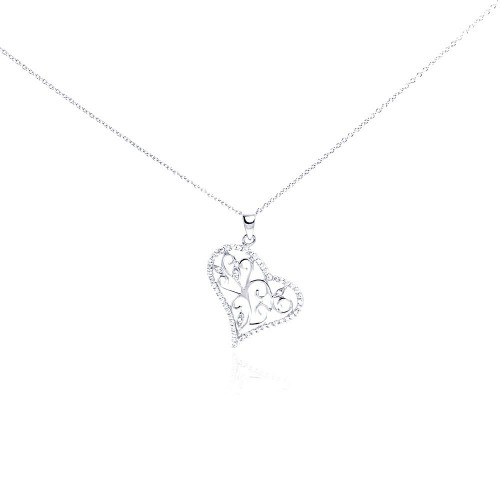 Wholesale Sterling Silver 925 Rhodium Plated Clear CZ Heart Pendant Necklace - STP01006