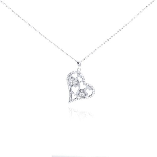 Wholesale Sterling Silver 925 Rhodium Plated Clear CZ Heart Pendant Necklace - STP01007
