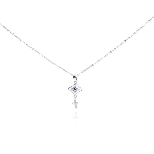 Wholesale Sterling Silver 925 Rhodium Plated Clear CZ Cross Evil Eye Pendant Necklace - STP01010