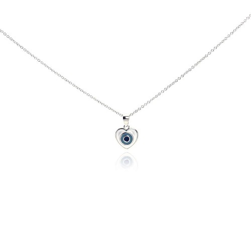 Wholesale Sterling Silver 925 Rhodium Plated Clear CZ Heart Pendant Necklace - STP01011
