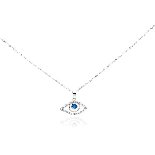 Wholesale Sterling Silver 925 Rhodium Plated Clear CZ Evil Eye Pendant Necklace - STP01014