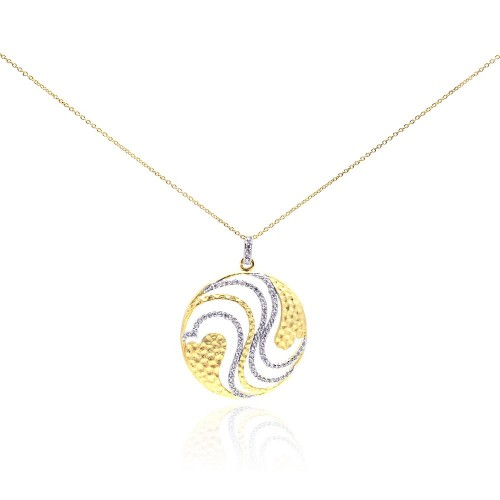 **Closeout** Wholesale Sterling Silver 925 Gold Plated Clear CZ Round Pendant Necklace - STP01015