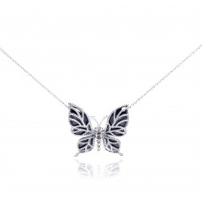 Sterling Silver Rhodium Plated Clear CZ Butterfly Onyx Pendant Necklace - STP001016