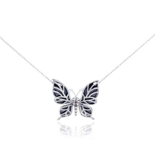 Wholesale Sterling Silver 925 Rhodium Plated Clear CZ Butterfly Onyx Pendant Necklace - STP001016