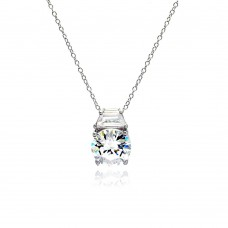Sterling Silver Rhodium Plated Clear CZ Baguette Pendant Necklace - STP01020