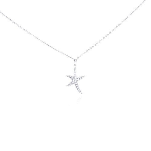 Wholesale Sterling Silver 925 Rhodium Plated Clear CZ Starfish Pendant Necklace - STP01021