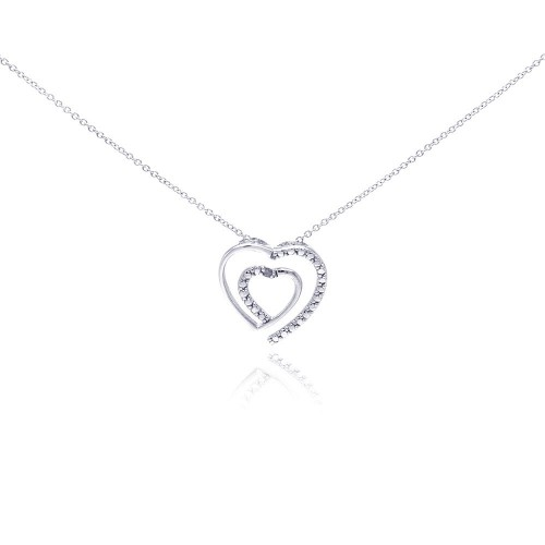 Wholesale Sterling Silver 925 Rhodium Plated Clear Diamond Heart Pendant Necklace - STP01032