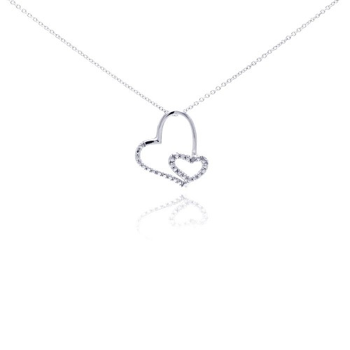 Wholesale Sterling Silver 925 Rhodium Plated Clear Diamond Heart Pendant Necklace - STP01035
