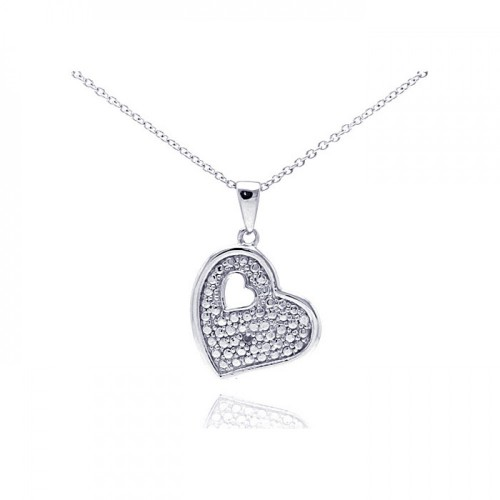 Wholesale Sterling Silver 925 Rhodium Plated Clear Diamond Heart Pendant Necklace - STP01036