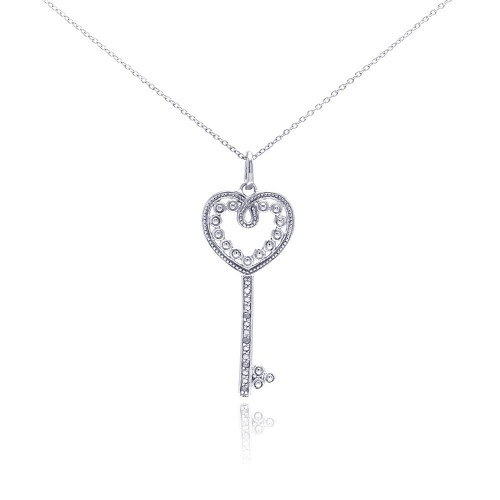 Wholesale Sterling Silver 925 Rhodium Plated Clear Diamond Heart Key Pendant Necklace - STP01037