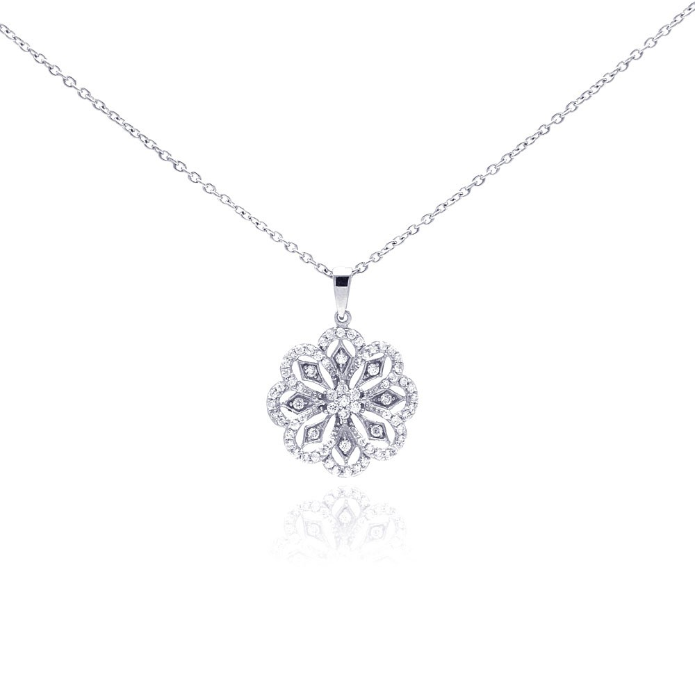 Wholesale Sterling Silver 925 Rhodium Plated Clear CZ Flower Pendant Necklace - STP01043