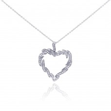 **Closeout** Sterling Silver Rhodium Plated Clear CZ Heart Pendant Necklace - STP01044