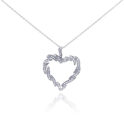 **Closeout** Wholesale Sterling Silver 925 Rhodium Plated Clear CZ Heart Pendant Necklace - STP01044