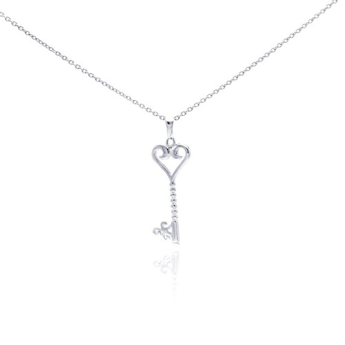 Wholesale Sterling Silver 925 Rhodium Plated Clear CZ Key Heart Pendant Necklace - STP01045