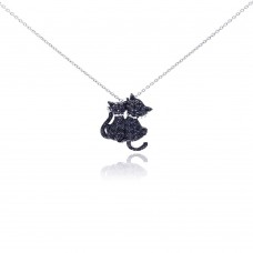 Sterling Silver Black Rhodium Plated Black CZ Kitty Pendant Necklace - STP01048