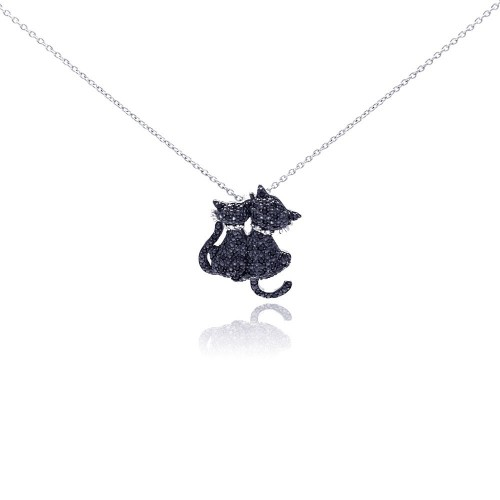 Wholesale Sterling Silver 925 Black Rhodium Plated Black CZ Kitty Pendant Necklace - STP01048