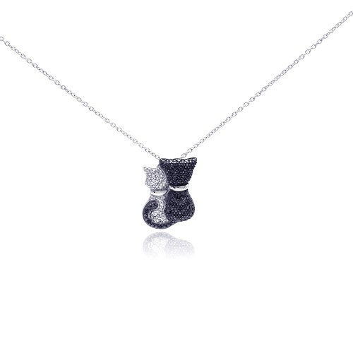 Wholesale Sterling Silver 925 Rhodium and Black Rhodium Plated Clear and Black CZ Kitty Pair Pendant Necklace - STP01049