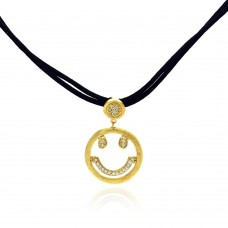 **Closeout** Sterling Silver Gold Plated Clear CZ Smile Pendant Leather Necklace - STP01052