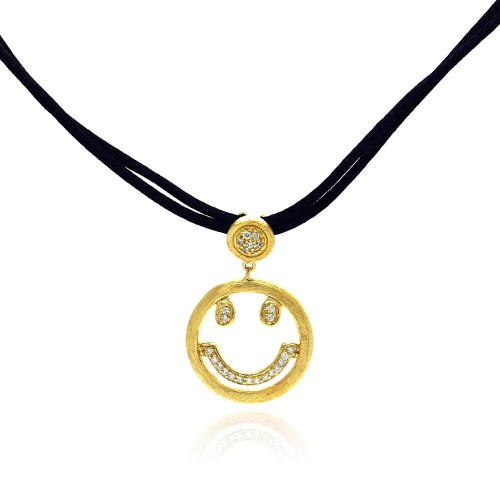 **Closeout** Wholesale Sterling Silver 925 Gold Plated Clear CZ Smile Pendant Leather Necklace - STP01052