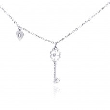 Wholesale Sterling Silver 925 Rhodium Plated Clear CZ Key Pendant Necklace - STP01055