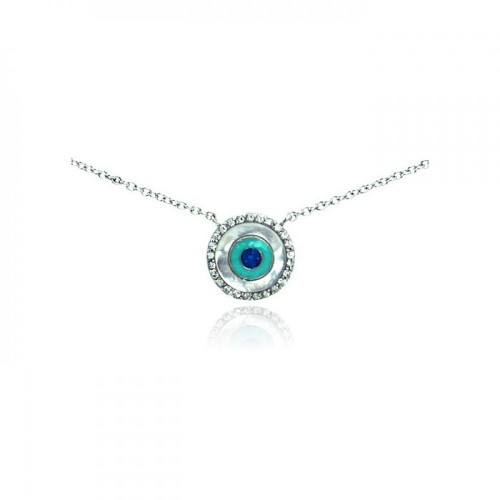 Wholesale Sterling Silver 925 Rhodium Plated Clear CZ Evil Eye Pendant Necklace - STP01060